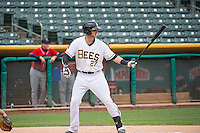 Jett Bandy (27) of the Salt Lake Bees at bat against the Tacoma Rainiers in Pacific Coast League action at Smith's Ballpark on May 7, 2015 in Salt Lake City, Utah. The Bees defeated the Rainiers 11-4 in the completion of the game that was suspended due to weather on May 6, 2015.(Stephen Smith/Four Seam Images)