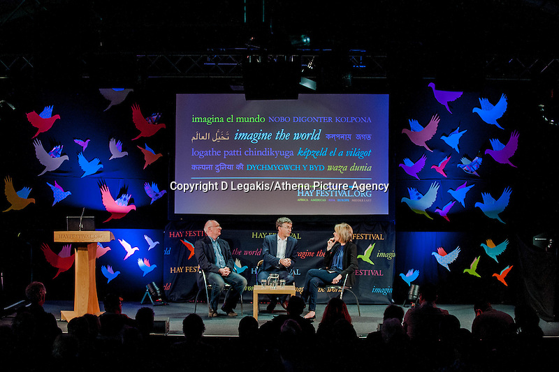 Tuesday 27 May 2014, Hay on Wye, UK<br /> Pictured: ( L-R ) James Mitchel, Richard Wyn Jones and Bethan Rhys Roberts Re: The Hay Festival, Hay on Wye, Powys, Wales UK.