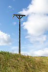 Wooden gibbet on long barrow of Combe Gibbet, Inkpen Hill, Berkshire, England, UK