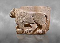 Hittite relief sculpted stone panel. Lion. Aslantepe Gate Limestone, Aslantepe, Malatya, 1200-700 B.C. Anatolian Civilisations Museum, Ankara, Turkey.<br /> <br /> The lion on the left of the two lions at the gate of the palace. His head and his front part were processed as high embossing and his body as regular embossing. The signs behind the lion and over his tail read; &quot;Halposulupis, Mighty (?) King&quot;.<br /> <br /> Against a grey art background.