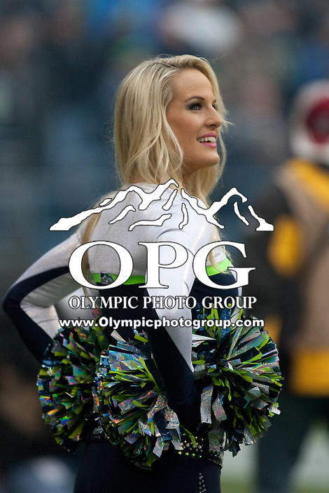 DEC 09, 2012:  The Seattle Seahawks SeaGals entertained the fans during the game against Arizona.  Seattle defeated Arizona 58-0 at CenturyLink Field in Seattle, WA...