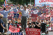 La Junta, Colorado.USA.August 7, 2004..Democratic Presidentual nominee Sen. John Kerry and VP nominee Sen. John Edwards at a rally..