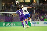 Orlando, FL - Saturday September 02, 2017: Camila Martins Pereira, Adriana Leon during a regular season National Women's Soccer League (NWSL) match between the Orlando Pride and the Boston Breakers at Orlando City Stadium.
