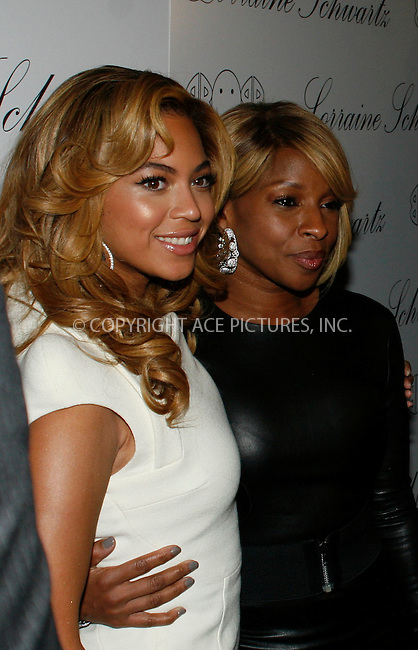 WWW.ACEPIXS.COM . . . . . ....November 22 2010, New York City ....Singer Beyonce Knowles and Mary J. Blige at the launch of Lorraine Schwartz's '2BHAPPY' jewelry collection at Lavo NYC on November 22, 2010 in New York City.....Please byline: NANCY RIVERA- ACEPIXS.COM.... *** ***..Ace Pictures, Inc:  ..Tel: 646 769 0430..e-mail: info@acepixs.com..web: http://www.acepixs.com