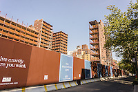 The skeletal remains and facades are all that is left of St. Vincent's Catholic Medical Center after the demolition of the main building in Greenwich Village in New York, seen on Tuesday, August 27, 2013. The site of the demolished main building will become a luxury condo tower with the remains of the other buildings becoming condos.   (© Richard B. Levine)