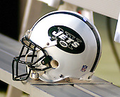 Landover, MD - August 19, 2006 -- A New York Jets helmet rests on the bench during the pre-game activities at FedEx Field in Landover, Maryland, Saturday, August 19, 2006.  The Jets were in Landover to play the Washington Redskins.<br /> Credit: Ron Sachs / CNP
