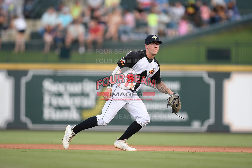 Second baseman Chandler Avant (5) of the Columbia Fireflies plays defense in a game against the Lexington Legends on Thursday, June 13, 2019, at Segra Park in Columbia, South Carolina. Lexington won, 10-5. (Tom Priddy/Four Seam Images)