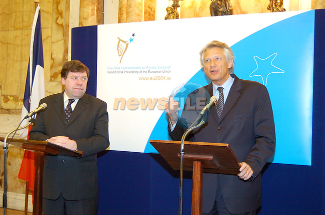 French Foreign Minister Mr. Dominique de Villepin (R) with Irish Foreign Affairs Minister Brian Cowen during his visit to Ireland..Photo AFP/NEWSFILE/FRAN CAFFREY..(Photo credit should read FRAN CAFFREY/NEWSFILE/AFP)...This Picture has been sent you under the condtions enclosed by:.Newsfile Ltd..the Studio,.Millmount Abbey,.Drogheda,.Co Meath..Ireland..Tel: +353(0)41-9871240.Fax: +353(0)41-9871260.GSM: +353(0)86-2500958.email: pictures@newsfile.ie.www.newsfile.ie.FTP: 193.120.102.198..This picture is from Fran Caffrey@newsfile.ie