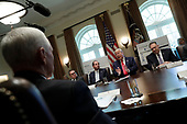 United States President Donald J. Trump speaks during a Cabinet Meeting at the White House in Washington, DC on October 21, 2019. Pictured from left to right: US Vice President Mike Pence, Administrator of the US Environmental Protection Agency Andrew Wheeler, US Secretary of Health and Human Services (HHS) Alex Azar, The President, US Secretary of State Mike Pompeo.<br /> Credit: Yuri Gripas / Pool via CNP