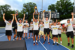 WINSTON SALEM, NC - MAY 22: The Wake Forest Demon Deacons celebrate after defeating the Ohio State Buckeyes during the Division I Men's Tennis Championship held at the Wake Forest Tennis Center on the Wake Forest University campus on May 22, 2018 in Winston Salem, North Carolina. Wake Forest defeated Ohio State 4-2 for the national title. (Photo by Jamie Schwaberow/NCAA Photos via Getty Images)