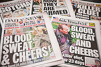 Several days headlines of the New York Daily News and Post newspapers report on the escape, death and capture of Richard Matt and David Sweat in their escape from the Clinton Correctional Facility in Dannemora, New York. Sweat was captured on Sunday, June 29, 2015 and Matt was shot and killed on Friday, June 26. Both tabloids used the same headline on Monday, June 29, 2015. (© Richard B. Levine)