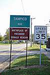 A sign announces the entrance to the town where Ronald Reagan was born, Tampico, Illinois, on October 26, 2008.