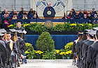 May 21, 2017; Commencement speaker Vice President Mike Pence delivers his address at the 2017 Commencement ceremony in Notre Dame Stadium.  (Photo by Barbara Johnston/University of Notre Dame)