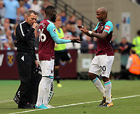 Andre Ayew of West Ham is substituted by Arthur Masuaku during the Premier League match between West Ham United v Swansea City at the London Stadium, London, England, UK. Saturday 30 September 2017