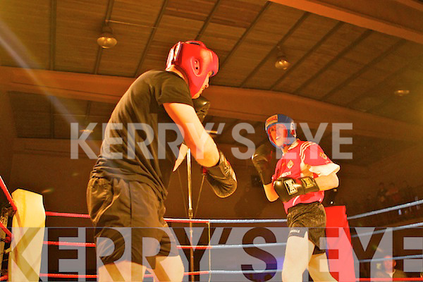 Mountcollins fighters Sean Lyons(red) and John Kelly from Templeglantine in action for the Mountcollins GAA White Collar Boxing night held in The Abbeyfeale Sports Complex last Saturday.