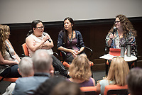 "Plenary panel, from left: Besha Rodell, restaurant critic for the LA Weekly; Diep Tran, owner and chef at Good Girl Dinette; Joann Lo, executive director of the Food Chain Workers Alliance; Evan Kleiman, moderator and radio host of KCRW's ""Good Food"".<br /> Occidental College hosts the Oxy Food Conference, an annual meeting and conference for the Agriculture, Food and Human Values Society (AFHVS)/Association for the Study of Food and Society (ASFS). The event ran from June 14-17, 2017 and was organized by Oxy associate professor of sociology John Lang. This was the first time Oxy hosted this conference.<br /> More than 500 food scholars converged for one of the discipline's largest international conferences and the chance to discuss everything from sustainable agricultural and fisheries practices to the cultural significance of Basque-American ""picon punch.""<br /> (Photo by Marc Campos, Occidental College Photographer)"