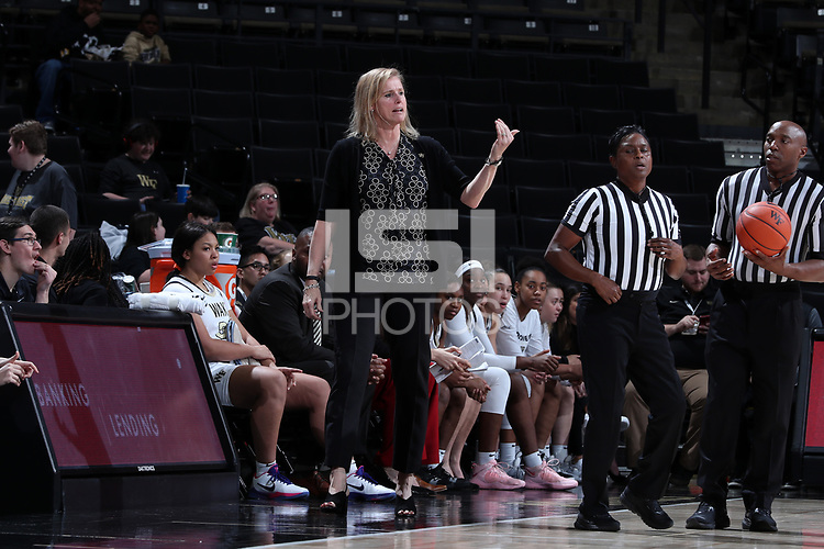 WINSTON-SALEM, NC - FEBRUARY 06: Head coach Jen Hoover of Wake Forest University during a game between Notre Dame and Wake Forest at Lawrence Joel Veterans Memorial Coliseum on February 06, 2020 in Winston-Salem, North Carolina.