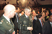 United States Army General Wesley Clark, Supreme Allied Commander Europe (SACEUR) attends a Joint Press Conference with North Atlantic Treaty Organization (NATO) Secretary General, Doctor Javier Solana (not pictured) at NATO headquarters in Brussels, Belgium on March 25, 1999.  .Credit: NATO via CNP...