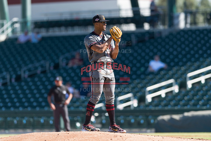 Salt River Rafters starting pitcher Jon Duplantier (31), of the Arizona Diamondbacks organization, looks in for the sign during an Arizona Fall League game against the Mesa Solar Sox at Sloan Park on October 30, 2018 in Mesa, Arizona. Salt River defeated Mesa 14-4 . (Zachary Lucy/Four Seam Images)