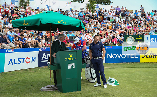 Tyrrell Hatton (ENG) on the tee ready to start the Final Round of the 2015 Alstom Open de France, played at Le Golf National, Saint-Quentin-En-Yvelines, Paris, France. /05/07/2015/. Picture: Golffile | David Lloyd<br /> <br /> All photos usage must carry mandatory copyright credit (&copy; Golffile | David Lloyd)