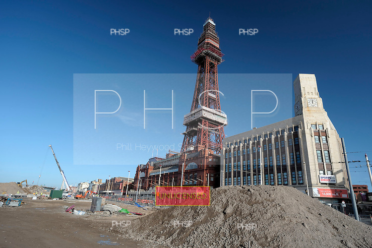 16/02/2011 Blackpool Lancashire UK.Tower headland construction work in the vicinity of Blackpool Tower...© Phill Heywood.