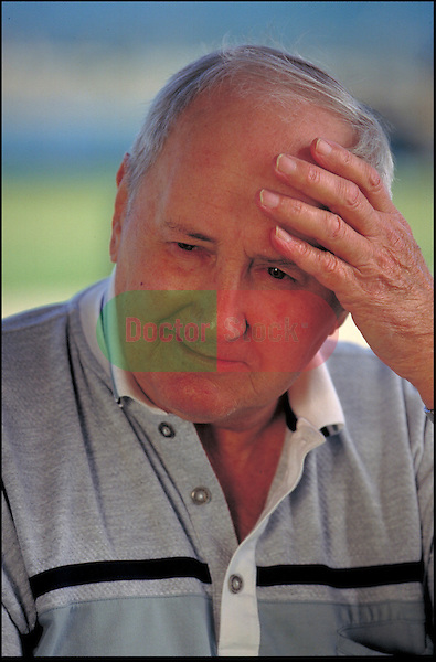 portrait of worried elder man