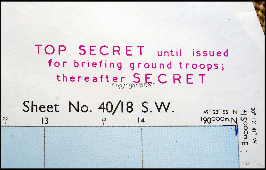 BNPS.co.uk (01202 558833)<br /> Pic: C&T/BNPS<br /> <br /> Top Secret - Printed just 17 days before the invasion...<br /> <br /> The most up-to-date maps for the D-Day invasion have come to light 72 years later to show the incredible detail the Allies went to to ensure victory.<br /> <br /> The 24 original maps were drawn up just two weeks before the momentous operation and gave the military commanders the most contemporary reports of the state of the five Normandy beaches.<br /> <br /> The charts, marked 'Top Secret', were so detailed they contained almost the exact number and positions of mines, pill boxes and other defence works the Germans had laid as part of Hitler's Atlantic Wall.<br /> <br /> They are being sold in eight separate lots by C&T Auctioneers of Ashford, Kent, on September 7.