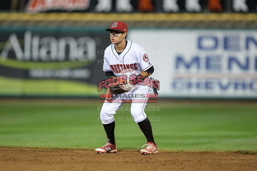 Billings Mustangs second baseman Alejo Lopez (5) on defense against the Missoula Osprey at Dehler Park on August 21, 2017 in Billings, Montana.  The Osprey defeated the Mustangs 10-4.  (Brian Westerholt/Four Seam Images)