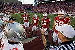 Wisconsin Badgers look on during coin toss prior to an NCAA college football game against the Ohio State Buckeyes on October 16, 2010 at Camp Randall Stadium in Madison, Wisconsin. The Badgers beat the Buckeyes 31-18. (Photo by David Stluka)
