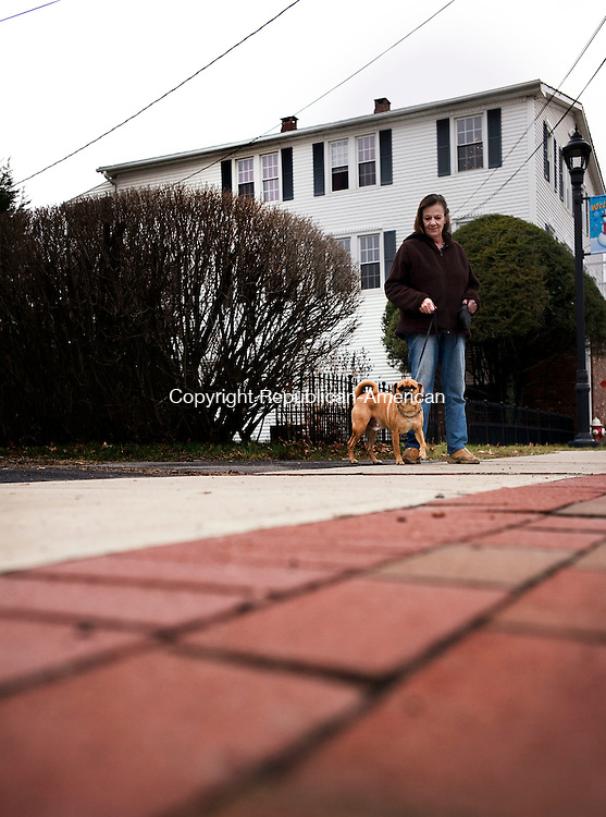 Plymouth, CT- 27 December 2015-122715CM07-  Sheila Brooks of Terryville, walks Presley, a Puggle along Main Street in Plymouth on Sunday.  Folks were out enjoying the warmer weather, which is expected to change.  According to the National Weather Service, Monday is expected to be mostly sunny, with a high near 37.  Christopher Massa Republican-American