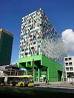 Nederland, Utrecht - 2018.Utrecht Science Park. Casa Confetti op de Uithof. In de woontoren bevinden zich 377 studentenwoningen. Het ontwerp is afkomstig van Architectenbureau Marlies Rohmer. Foto Berlinda van Dam / Hollandse Hoogte