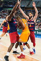 Herbalife Gran Canaria's player Eulis Baez and FC Barcelona Lassa player Joey Dorsey and Pau Ribas during the final of Supercopa of Liga Endesa Madrid. September 24, Spain. 2016. (ALTERPHOTOS/BorjaB.Hojas) NORTEPHOTO.COM