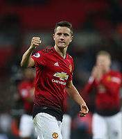 Manchester United's Ander Herrera celebrates at the end of the game<br /> <br /> Photographer Rob Newell/CameraSport<br /> <br /> The Premier League - Tottenham Hotspur v Manchester United - Sunday 13th January 2019 - Wembley Stadium - London<br /> <br /> World Copyright &copy; 2019 CameraSport. All rights reserved. 43 Linden Ave. Countesthorpe. Leicester. England. LE8 5PG - Tel: +44 (0) 116 277 4147 - admin@camerasport.com - www.camerasport.com