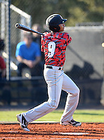 Orangewood Christian Rams designated hitter Seth Martin (9) during a game against the Olympia Titans at Olympia High School on February 19, 2014 in Olympia, Florida.  (Mike Janes/Four Seam Images)