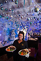 04/12/14<br /> <br /> Waitress Sophie Parkes-Morgan (19). <br /> <br /> The Hanging Gate pub in Chapel en le Frith, in the Derbyshire Peak District claims to have the largest display  of Christmas decorations inside its bar and restaurants. <br /> <br /> Full story here: http://www.fstoppress.com/articles/christmas-pub/<br /> <br /> ***ANY UK EDITORIAL PRINT USE WILL ATTRACT A MINIMUM FEE OF £130. THIS IS STRICTLY A MINIMUM. USUAL SPACE-RATES WILL APPLY TO IMAGES THAT WOULD NORMALLY ATTRACT A HIGHER FEE . PRICE FOR WEB USE WILL BE NEGOTIATED SEPARATELY***<br /> <br /> <br /> All Rights Reserved - F Stop Press. www.fstoppress.com. Tel: +44 (0)1335 300098