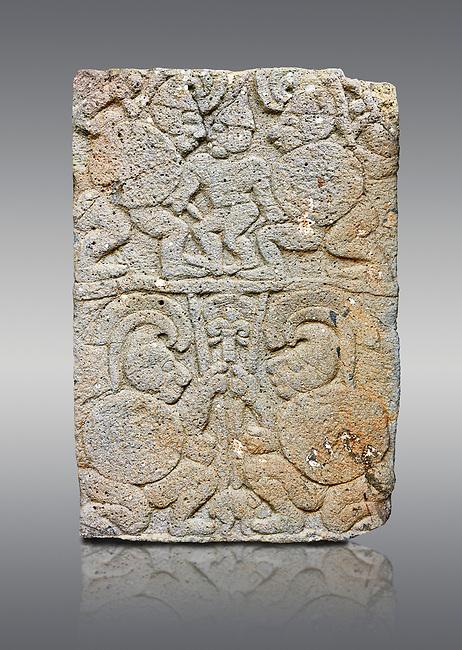 Pictures & images of the North Gate Hittite sculpture stele depicting soldiers. 8the century BC.  Karatepe Aslantas Open-Air Museum (Karatepe-Aslantaş Açık Hava Müzesi), Osmaniye Province, Turkey. Against grey background