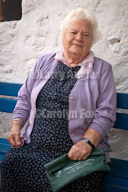 Woman in lavendar, Folegandros, Cyclades, Greece