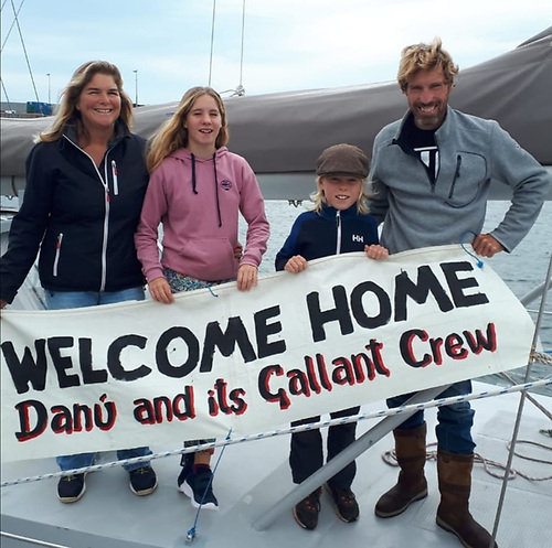 Vera, Lilian (12), Ruairí (10) and Peter Quinlan-Owens on their arrival into the Aran islands after 14 months in the Atlantic on their yacht, Danú of Galway. The family arrived home to Kinvara on Monday