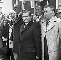 The St. Patrick's Day Parade makes its way down High Street and onto Main Street in 1978. Photo shows John O'Leary, TD, Grand Marshall with Peter Irwin, President, Killarney Chamber of Commerce  Bishop Kevin McNamara and Michael Moynihan, Chairman, KillarneyUDC, Sean O'Keeffe,  and Michael Begley, TD..Picture by Don MacMonagle .www.macmonagle.com