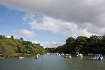 Visitors enjoy boating on the lake inside  Inokashira Park in  the trendy neighborhood of Kichijoji in Musashino City,  Tokyo, Japan on 16 Sept. 2012.  Photographer: Robert Gilhooly