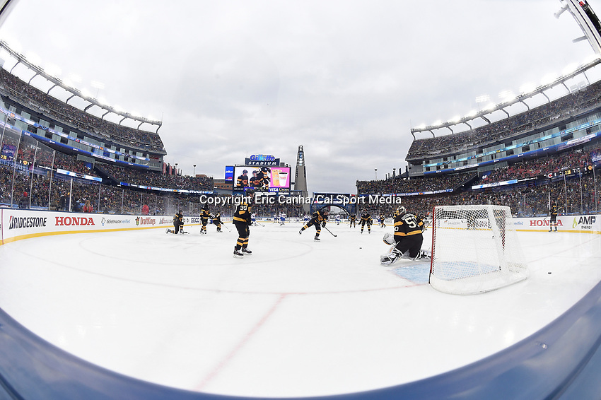 Friday January 1, 2016: Boston Bruins goalie Jonas Gustavsson (50) warms up before the National Hockey League Bridgestone Winter Classic game between the Montreal Canadiens and the Boston Bruins, held at Gillette Stadium in Foxborough, Massachusetts. Montreal defeats Boston 5-1 in regulation time. Eric Canha/CSM
