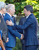 United States Vice President Joe Biden greets Prime Minister Matteo Renzi of Italy at the start of an Official Arrival Ceremony in the Prime Minister's honor on the South Lawn of the the White House in Washington, DC on Tuesday, October 18, 2016. <br /> Credit: Ron Sachs / CNP
