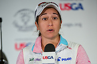 Marina Alex (USA) during a post round presser following  Friday's second round of the 72nd U.S. Women's Open Championship, at Trump National Golf Club, Bedminster, New Jersey. 7/14/2017.<br /> Picture: Golffile | Ken Murray<br /> <br /> <br /> All photo usage must carry mandatory copyright credit (&copy; Golffile | Ken Murray)
