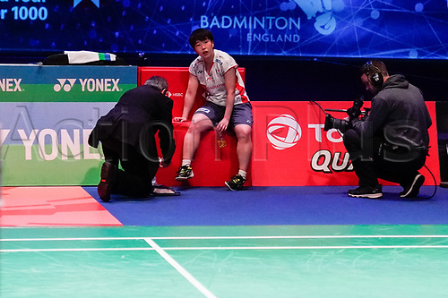 18th March 2018, Arena Birmingham, Birmingham, England; Yonex All England Open Badminton Championships; Akane Yamaguchi (JPN) receives some treatment in the womens singles the final against Tai Tzu Ying (TPE)