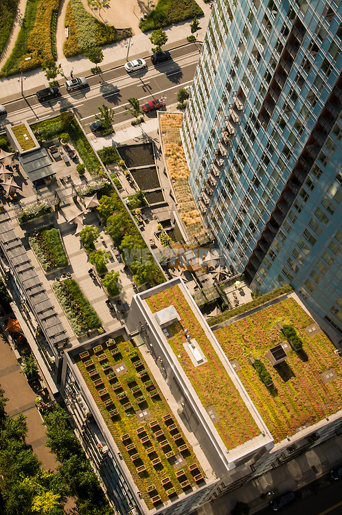 Aerial view of the Mirabella luxury apartment building greenroof and landscaping at South Waterfront in Portland, Oregon.