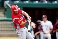 Joe Bircher (31) of the Bradley Braves makes contact a pitch during a game against the Missouri State Bears on May 13, 2011 at Hammons Field in Springfield, Missouri.  Photo By David Welker/Four Seam Images