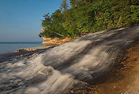 Chapel Creek tumbles into Lake Superior in Pictured Rocks National Lakeshore near Munising, Michigan.
