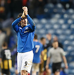Fran Sandaza salutes the fans after being applauded off the park after his efforts today