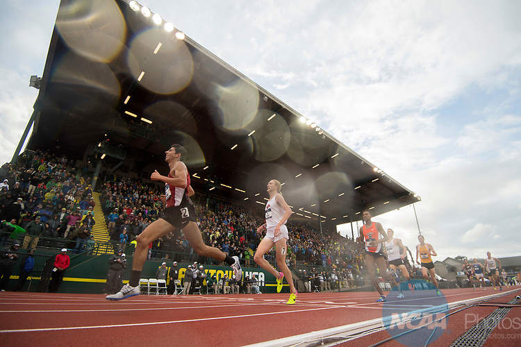 EUGENE, OR - JUNE 09: Grant Fisher of Stanford University races to a first place finish in the 5000 meter run during the Division I Men's Outdoor Track & Field Championship held at Hayward Field on June 9, 2017 in Eugene, Oregon. (Photo by Jamie Schwaberow/NCAA Photos via Getty Images)