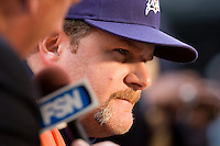 July 5, 2008:  Fox Sports Northwest interviewing Detroit Tigers closer Todd Jones prior to a game against the Seattle Mariners at Safeco Field in Seattle, Washington.